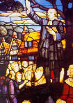 John Wesley Preaching: Stained Glass Window - 16532 Bytes