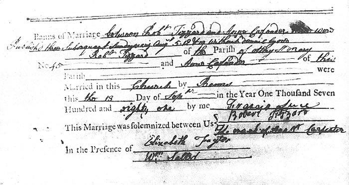 Tizzard Carpenter Marriage Record